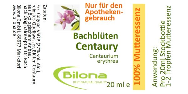 Centaury Bachblüten-MUTTERESSENZ, 20 ml